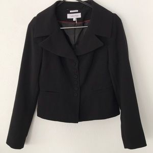 Calvin Klein Portrait Collar Peplum Suit Jacket